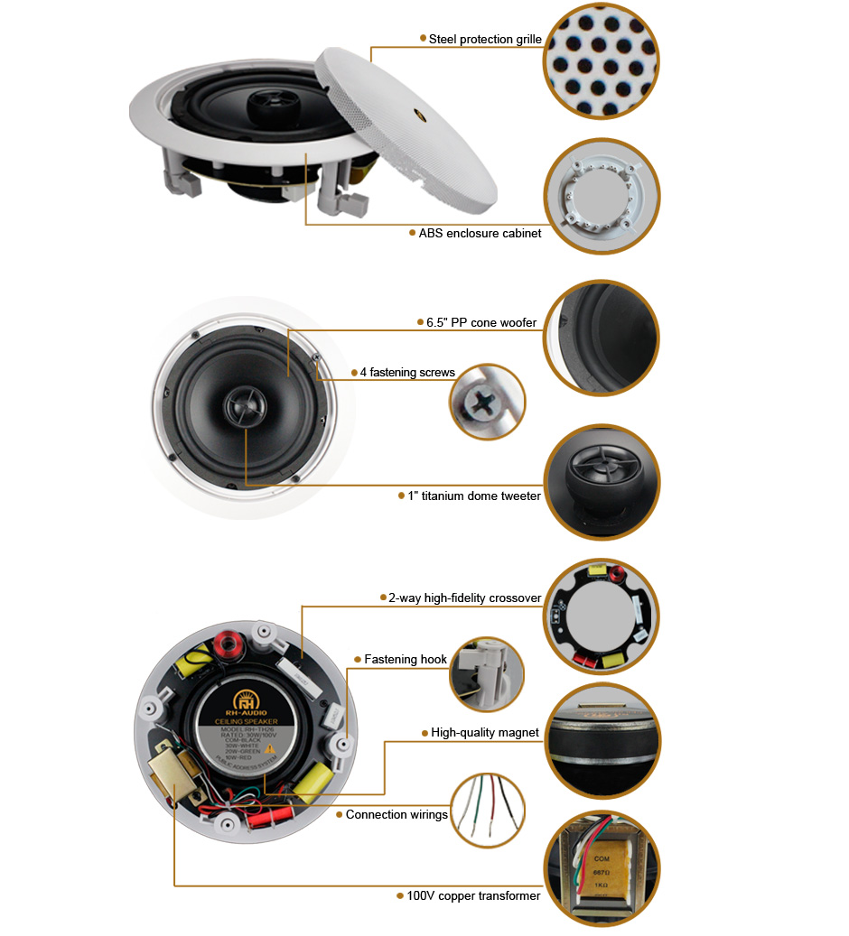 RH-AUDIO Ceiling Speaker RH-TH26 Product Details