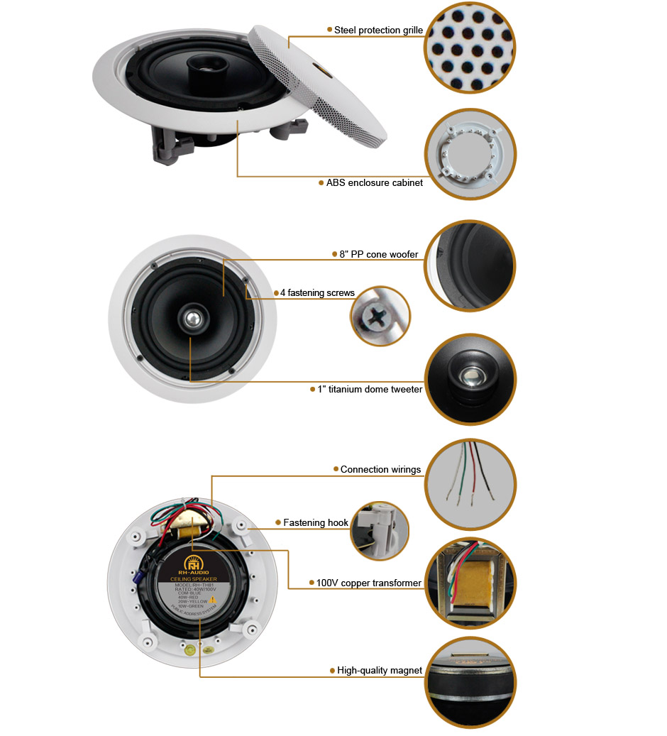 Best In Wall High Ceiling Speakers Community Hanging For Sale Speaker With Volume Control Wiring Diagram On 70v Rh Audio Th81 Product Details