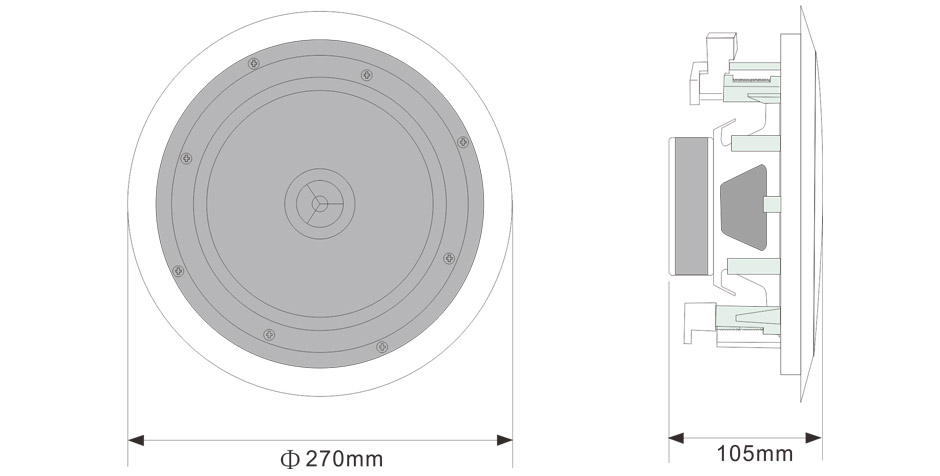 RH-AUDIO Ceiling Speaker RH-TH81 Size