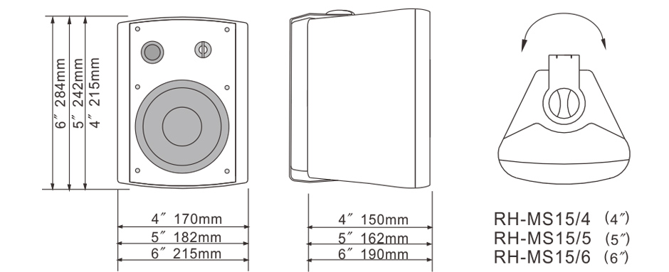 RH-AUDIO Two Way Voice Wall Mounting Speakers RH-MS15 Series Size