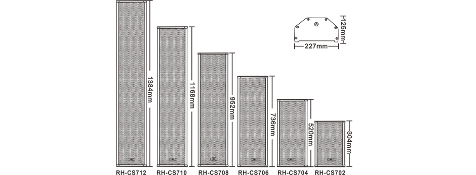 Multiple Power Selection Column Loudspeaker RH-CS7 Series Size